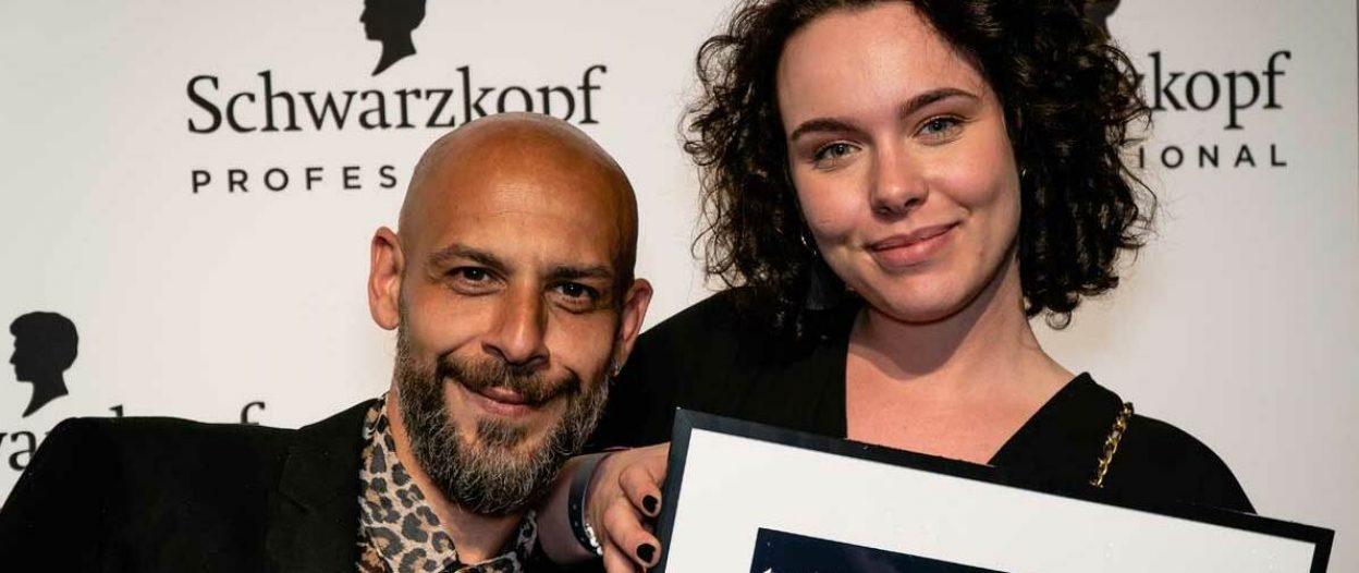 Cutting Edge Gewinner Andrea Messina und sein Model